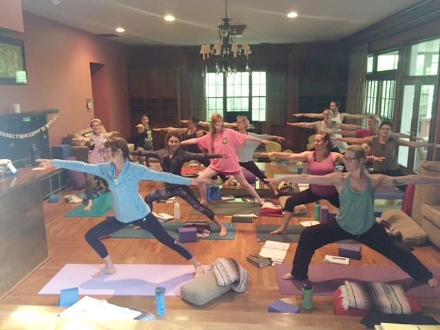 Yoga training at Buddha House, media room.