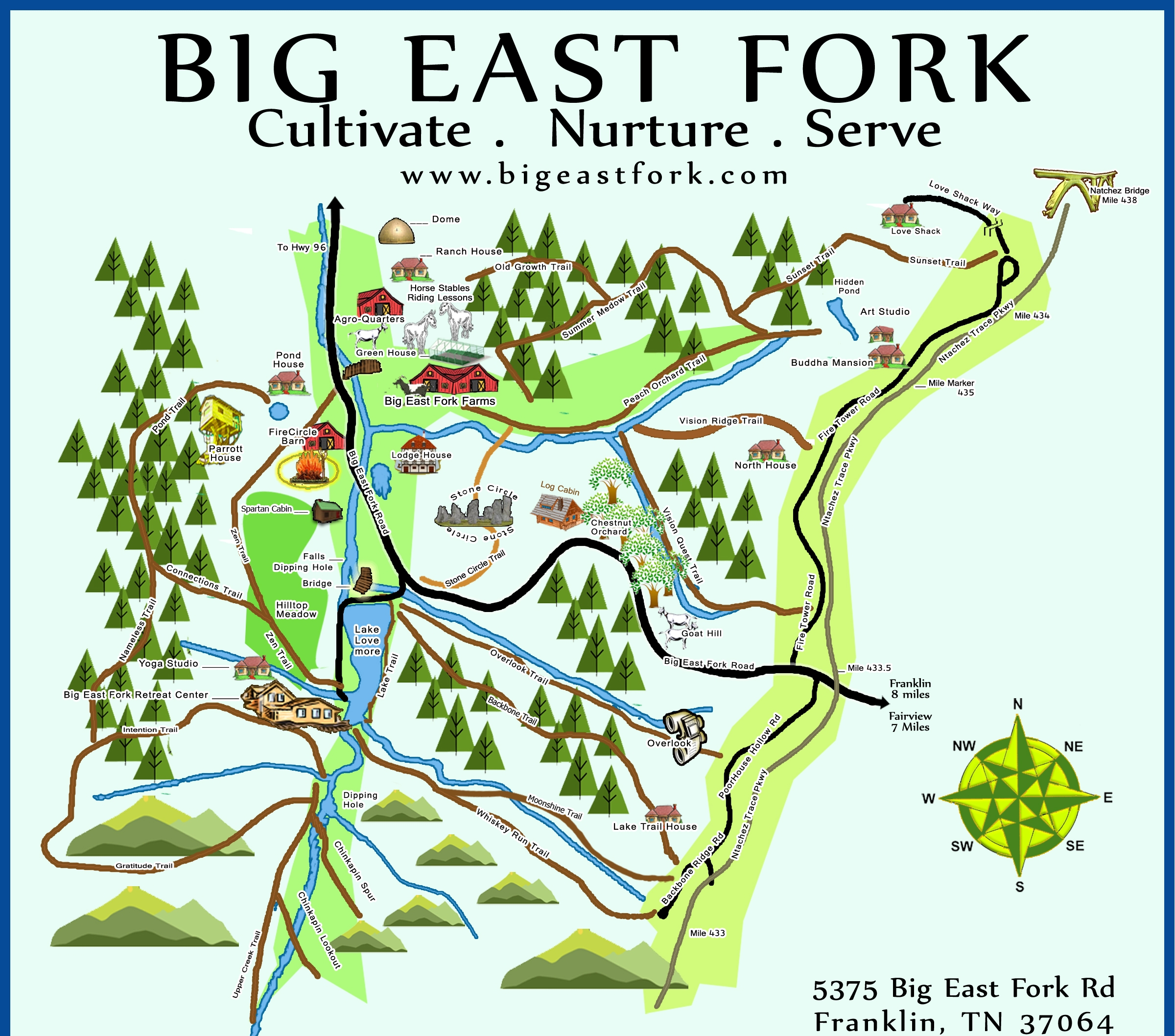 Miles of trails, six-acre lake, Center for Sustainable Stewardship Retreat Center, multiple houses for events and lodging -- all surrounded by pristine nature.