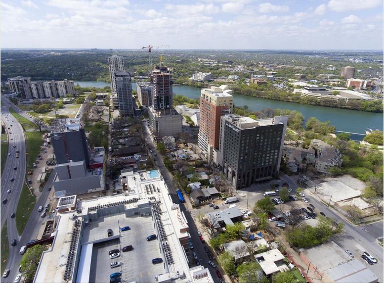 Austin's Rainey Street — centered on the eponymous thoroughfare, pictured looking south — has changed more than any other Central Texas neighborhood in the past decade. ~ABJ Staff
