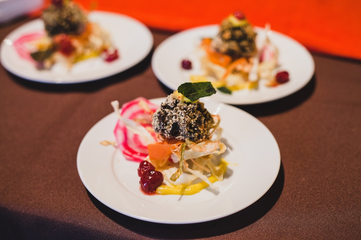 Chef Karen's Wild Rice and Smoked Cashew Suppli with a Vegetable Nest from RIPE 2014