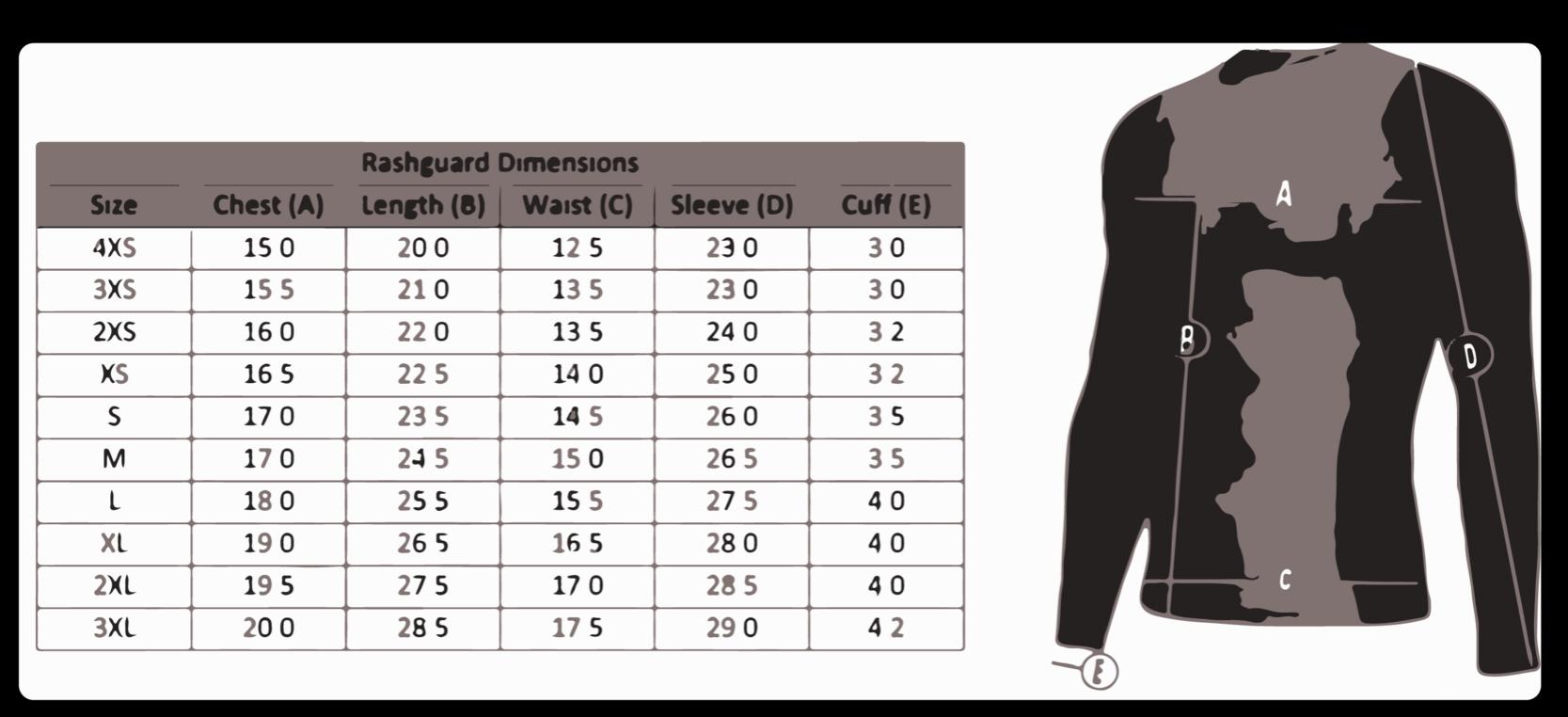 Size chart for custom rashguards
