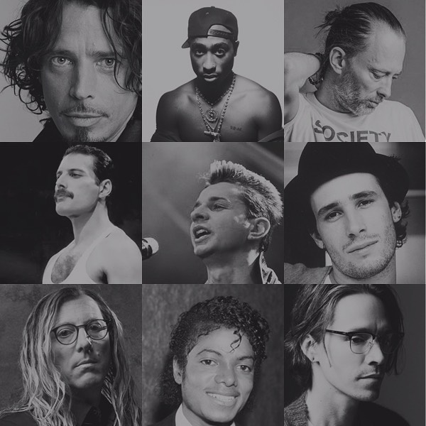 TOP 9 Vocalists who inspired my vocals growing up (from left to right): 1. Chris Cornell 2. Tupac 3. Thom Yorke 4. Freddie Mercury 5. Dave Gahan 6. Jeff Buckley 7. Maynard James Keenan 8. Michael Jackson 9. Brandon Boyd ⠀ -⠀ -⠀ -⠀ -⠀ #chriscornell #tupac #thomyorke #freddiemercury #davegahan #jeffbuckley #maynardjameskeenan #tool #michaeljackson #incubus #brandonboyd #depechemode #soundgarden #radiohead #singers #topsingers #influential #inspiration #musicians #artists #lyricists #singer #singersongwriter #performers
