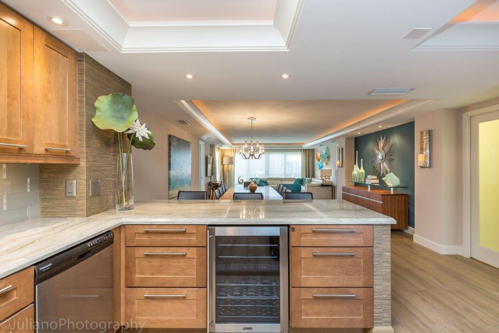 Beautiful CONTEMPORARY Kitchen designed by Monica JOyce from Interiors by Joyce in Pompano Beach, Florida  fabricated and installed by Marble & Granite Connection, Inc  Counter tops featuring White Macauba quartzite