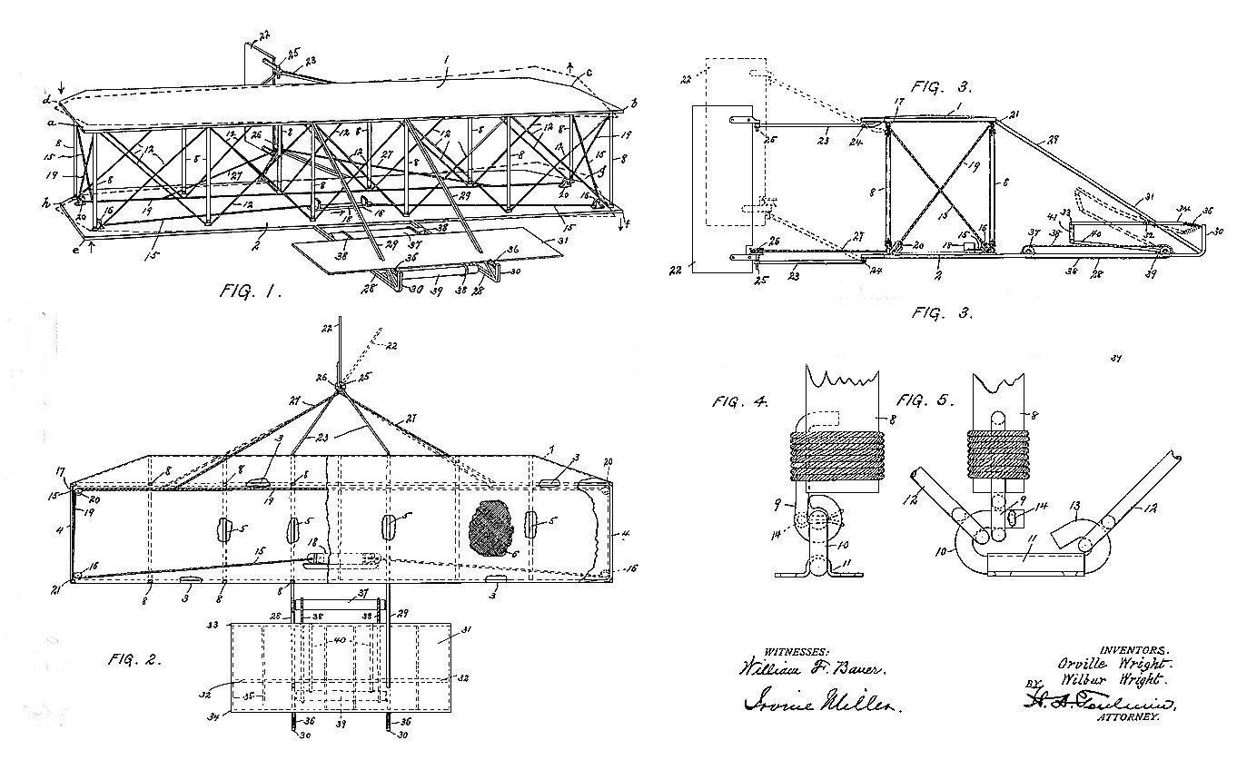 Early Wright brothers concept sketch of a steerable flying machine.