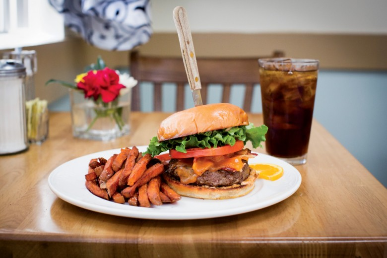 """The Champ Burger,"" perfectly prepared on a brioche bun.  Lori Pedrick"