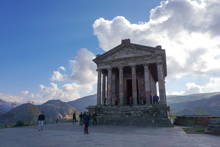 The Garni temple is peculiar in many ways, especially so since a Roman temple seems to have little to do with Geghard Monastery, which is nearby. The  story of how a Roman temple came to be in Armenia  goes back before Armenians adopted christianity (they were the first nation to do so in the 4the century A.D.
