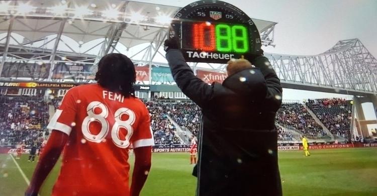 Femi making his MLS debut against the Philadelphia Union