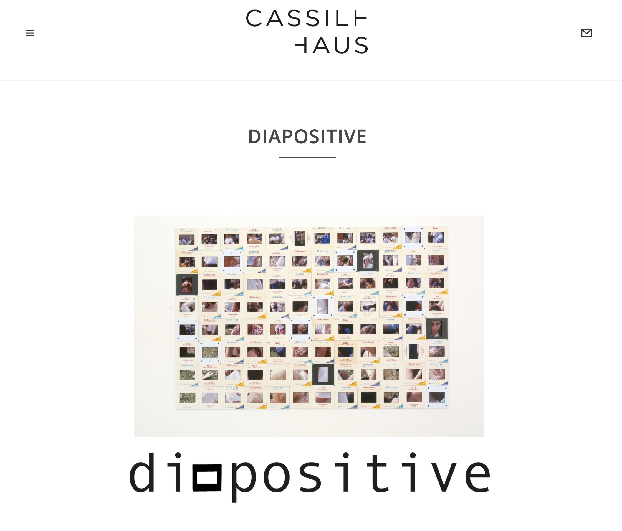 Several pieces from my Holder Series are currently on display at  Cassilhaus  as part of the group exhibition Diapositive. The exhibition will be up during the  Click! Photography Festival  and I will give a shared artist talk with the incredibly hardworking and prolific artist and friend of mine,  Amy Herman  on October 17th, 2018. Information to RSVP for the event is listed both on the  Click!  and Cassilhaus  website.
