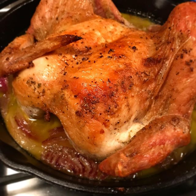 Whole chicken. Iron skillet. Weber grill. — #cookoutside #webergrill #ifyourelookingyouaintcooking  cc: @webergrills