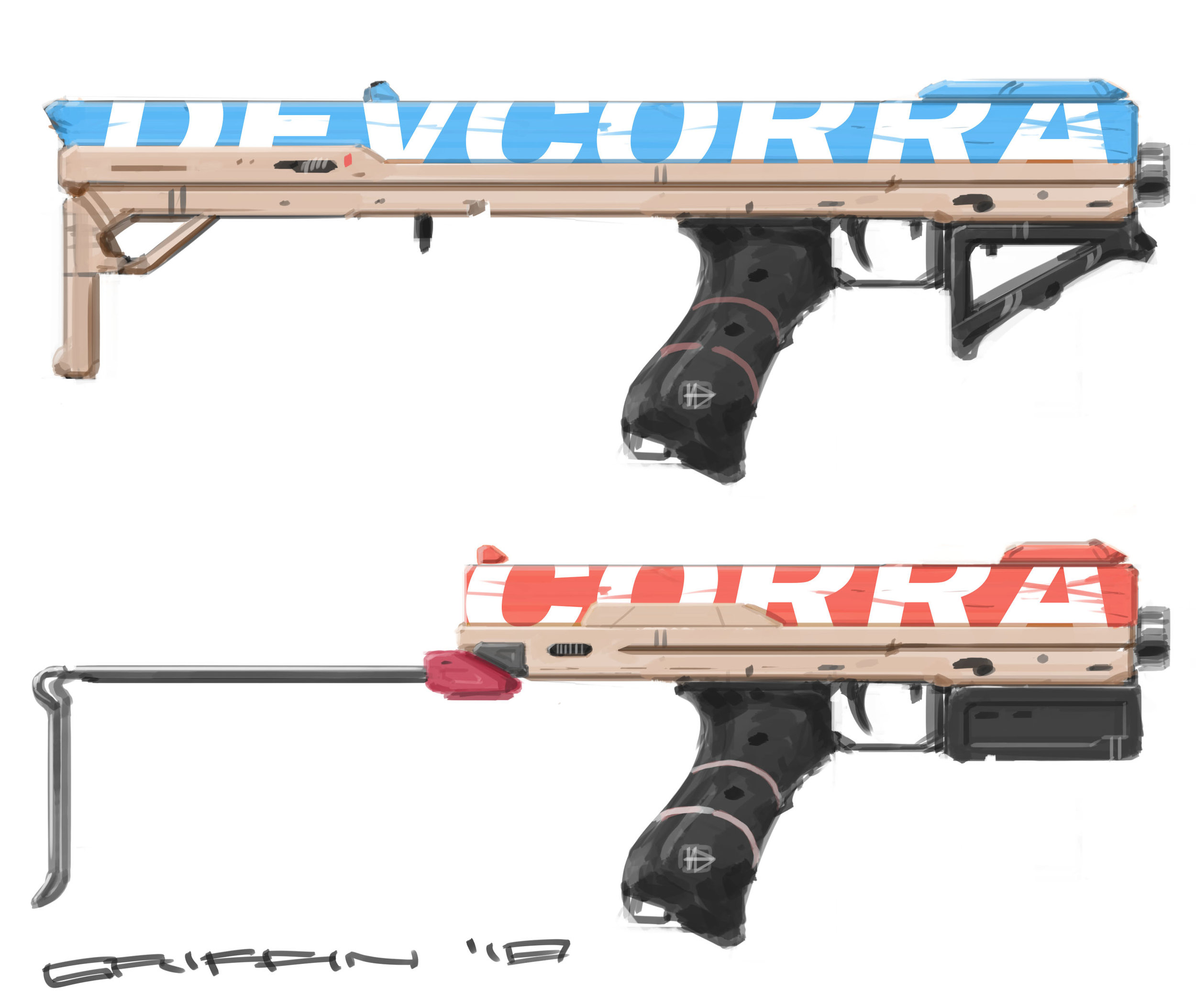 Machinepistols - a, b - DEVCORRA serves as the umbrella brand who manufactures a line of urban, high-capacity weapons in my world. Colors have different connotations. The idea is color indicates ammo type. Capacities range from 40-70 caseless rounds.