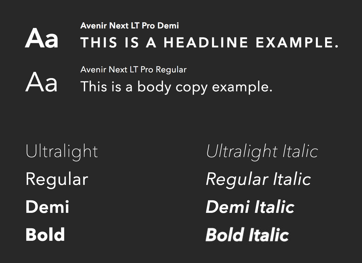 Alienware Brand Guidelines on use of their primary typeface; Avenir.