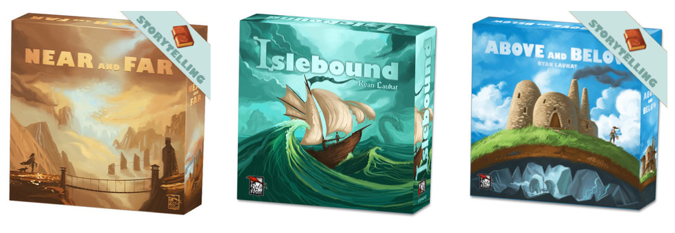 Near and Far ,  Islebound , and  Above and Below  all have a similar visual style that does a great job reinforcing the Red Raven Games brand.