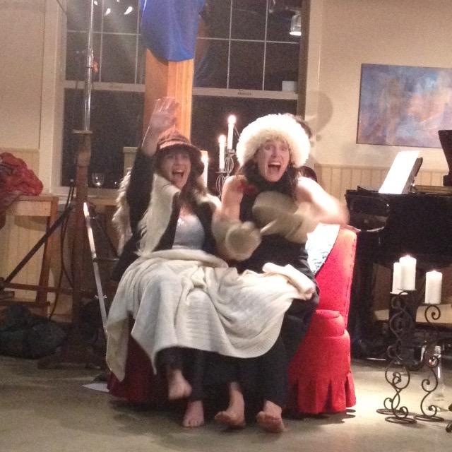 Cari Burdett and Sara Marreiros on the sled wtih horses!.jpg