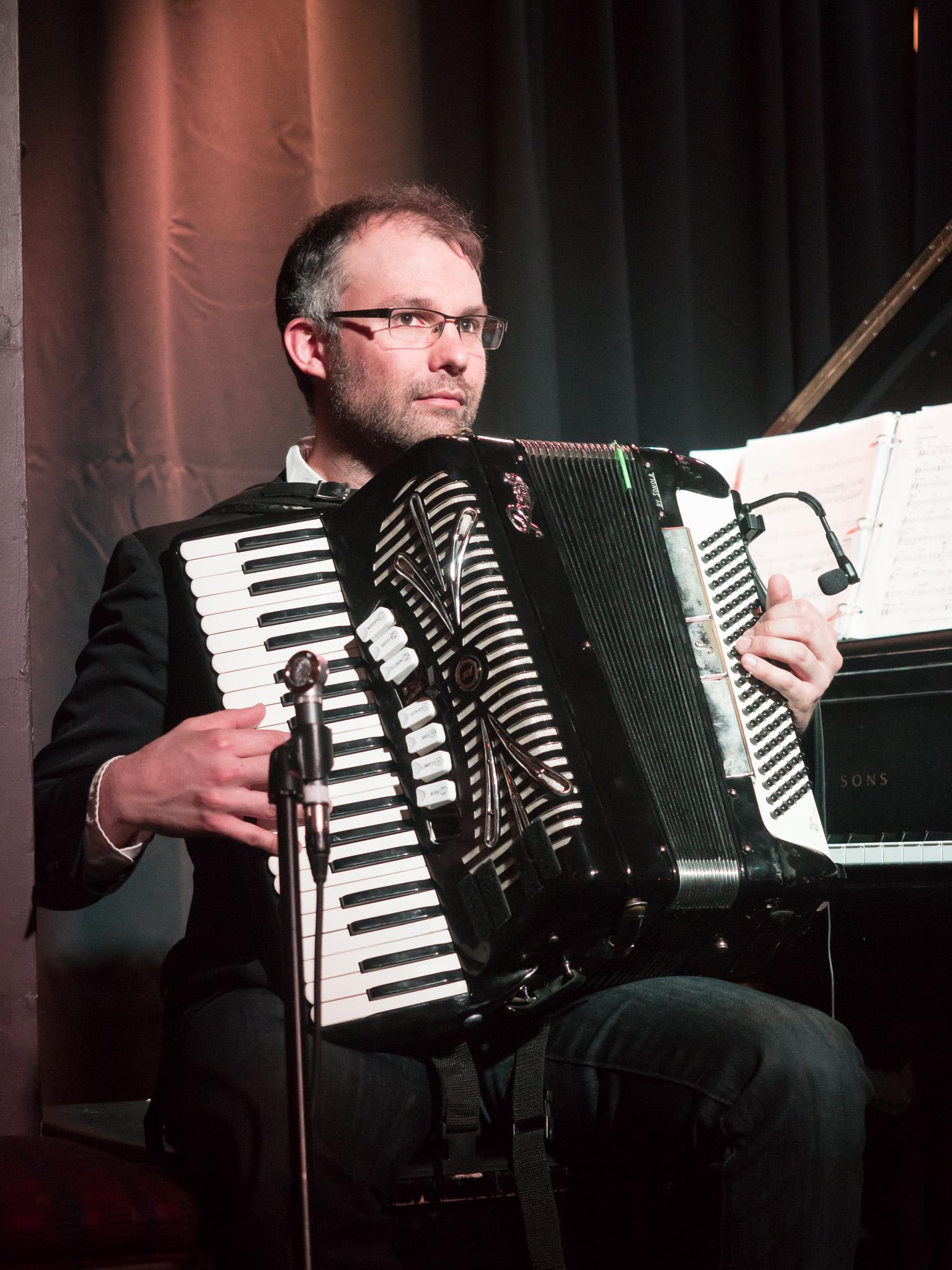 Adrian Dolan, Musical Director, piano, accordion, mandola, violin -