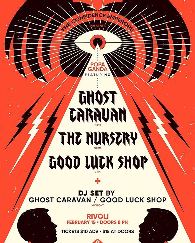 Beaming down again to dance away those Valentine's blues. This time @ghostcaravan + @goodluckshopband are coming with us to help take you back to our planet 🛸 Tickets in bio 👽 Artwork by @gigoelmoselhi 👁
