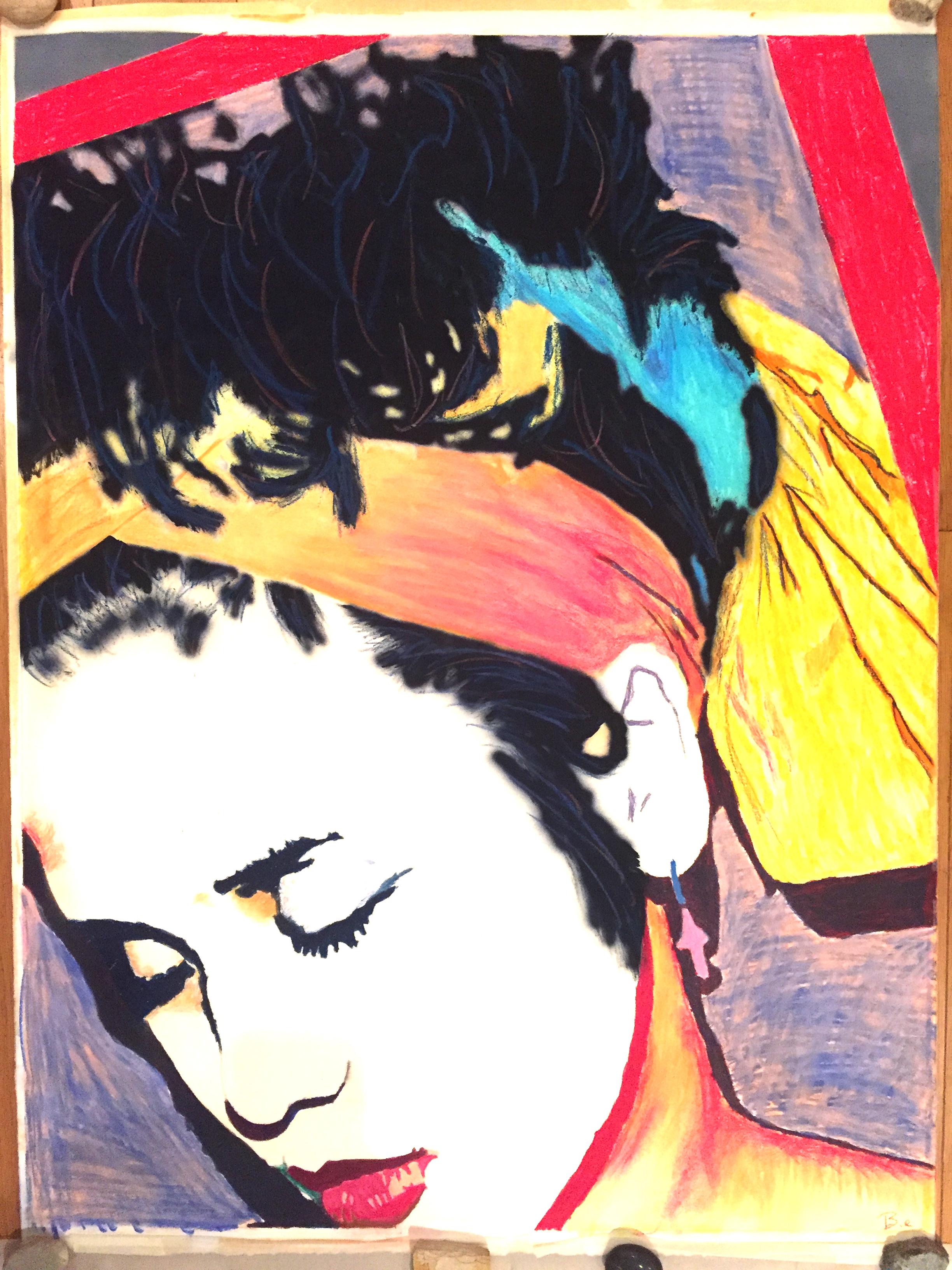Self Portrait, mixed media on watercolor paper, 36x48