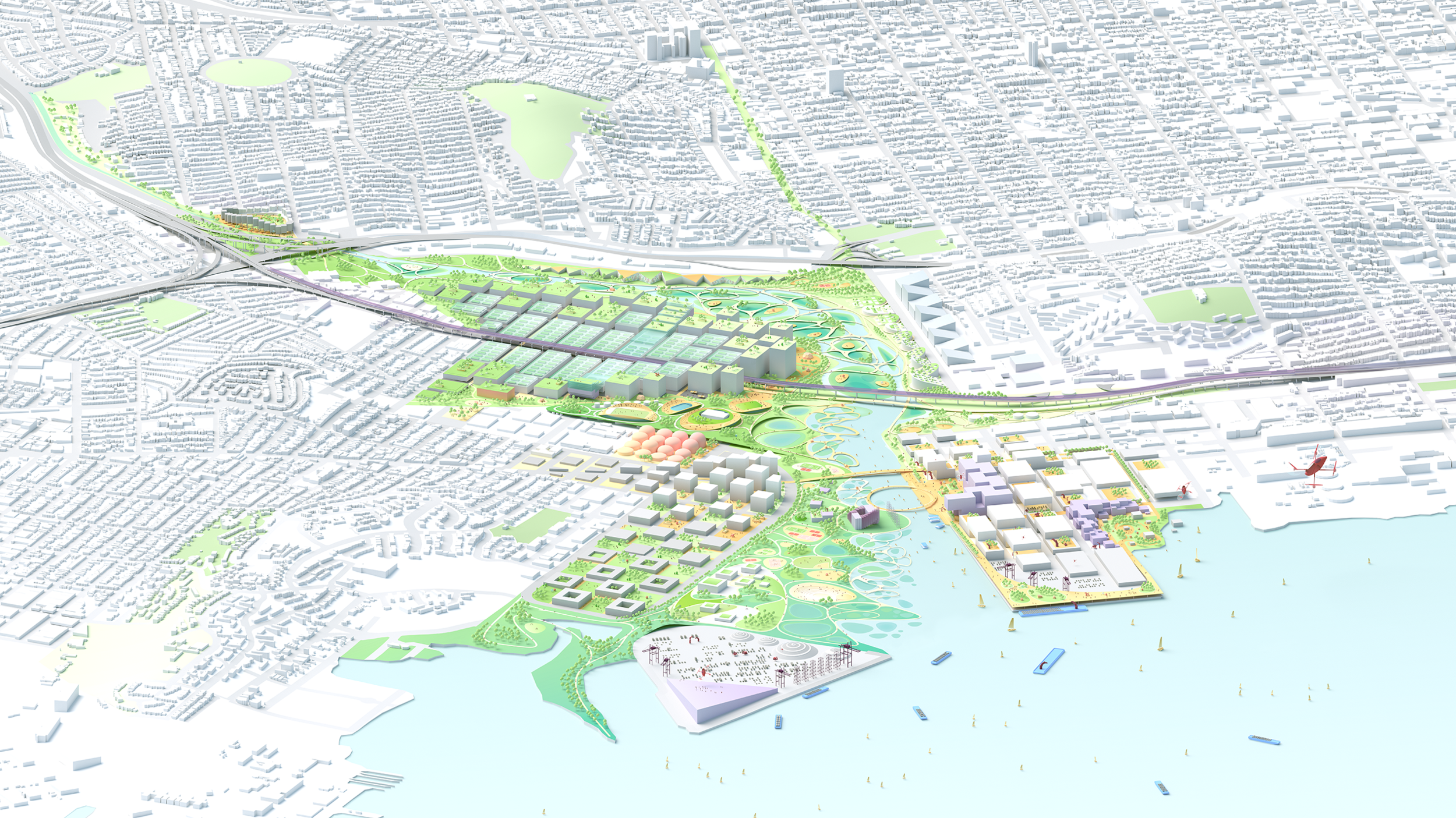 Weaving together natural, industrial, and social ecosystems, Islais Creek becomes dense, connective, and accessible: a resilience model for the entire Bay Area (Courtesy BIG + ONE + Sherwood).