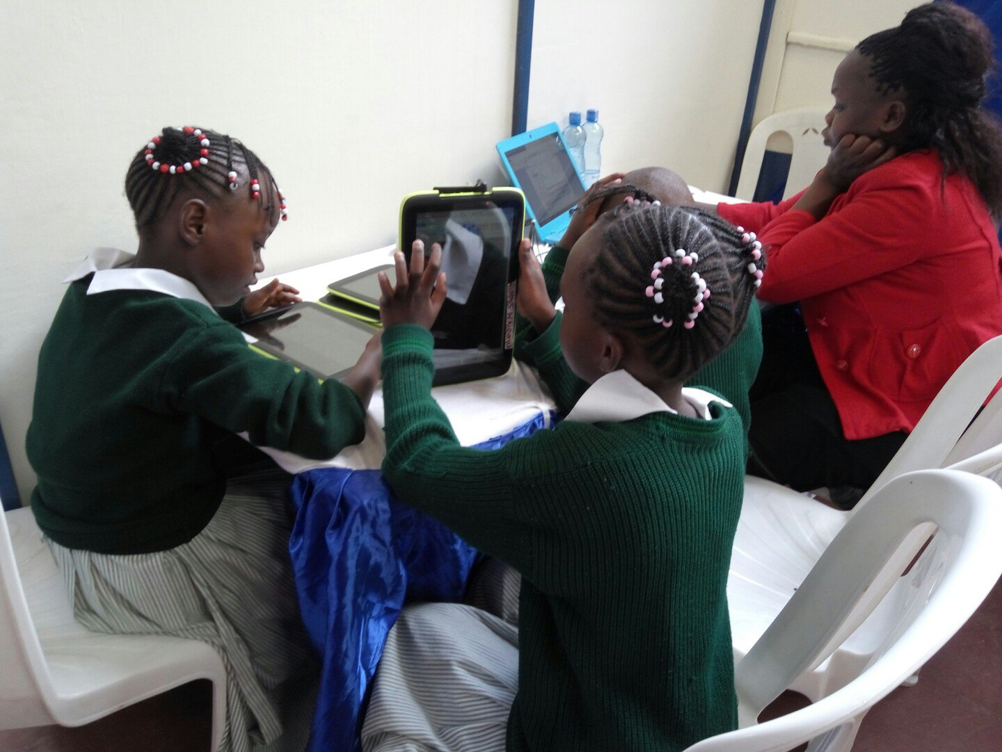 Students of Karumaine Primary School Nairobi testing the newly launched tablets by the Government of Kenya.
