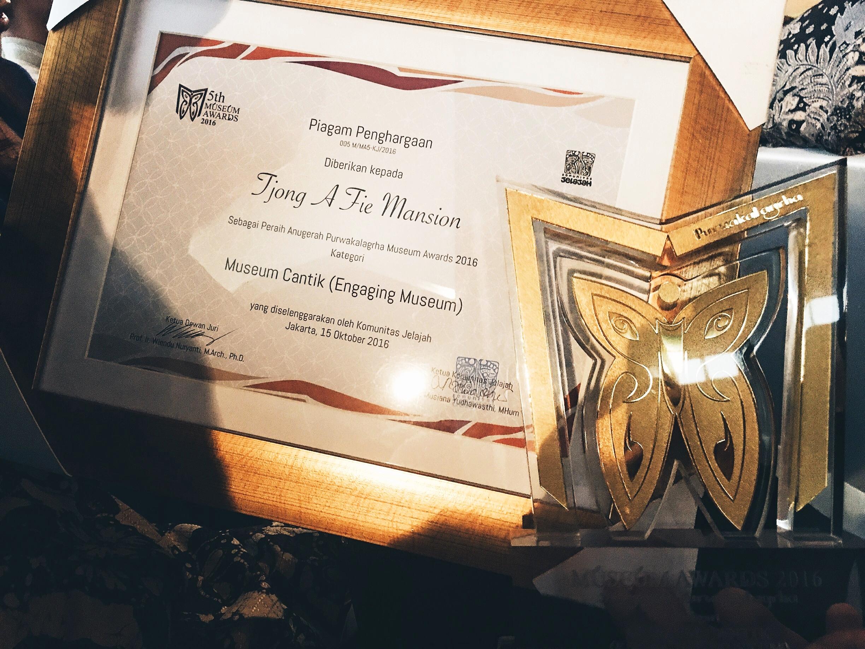Tjong A Fie Mansion meraih Anugrah Purwakalagrha Museum Awards dalam kategori Museum Cantik (Engaging Museum)