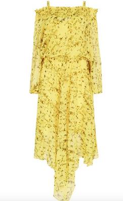 Studio by Preen Yellow Floral Print Chiffon Cold Shoulder High Low Dress- £55.20