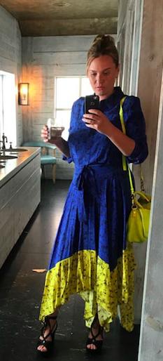 Studio by Preen Bright Blue Silk Floral Shirt Dress- £200