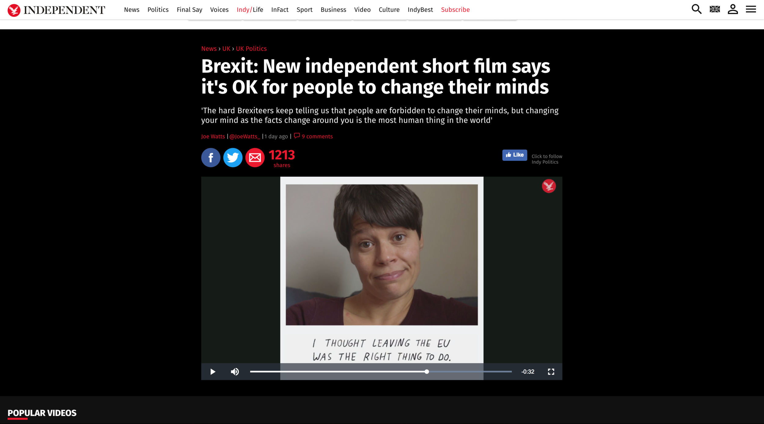 I Thought… a film about changing your mind, featured on the Independent website Thursday 20th September 2018, one of their most popular pieces of video content that day.
