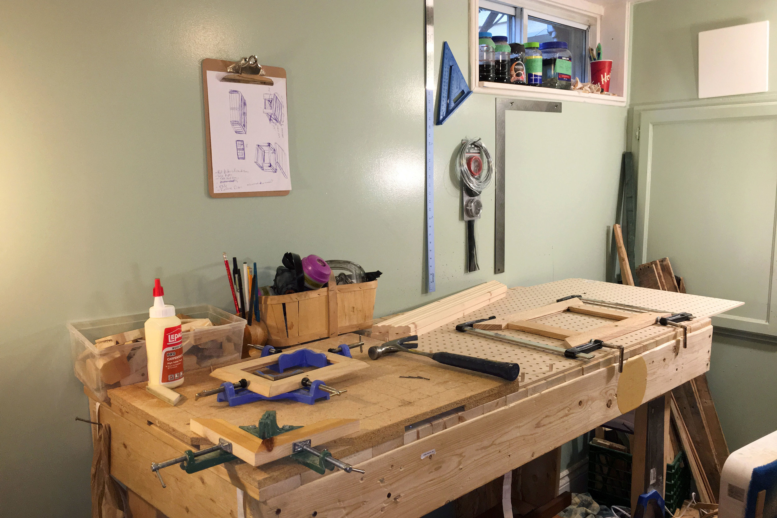 Even our workbench is made from reclaimed wood!