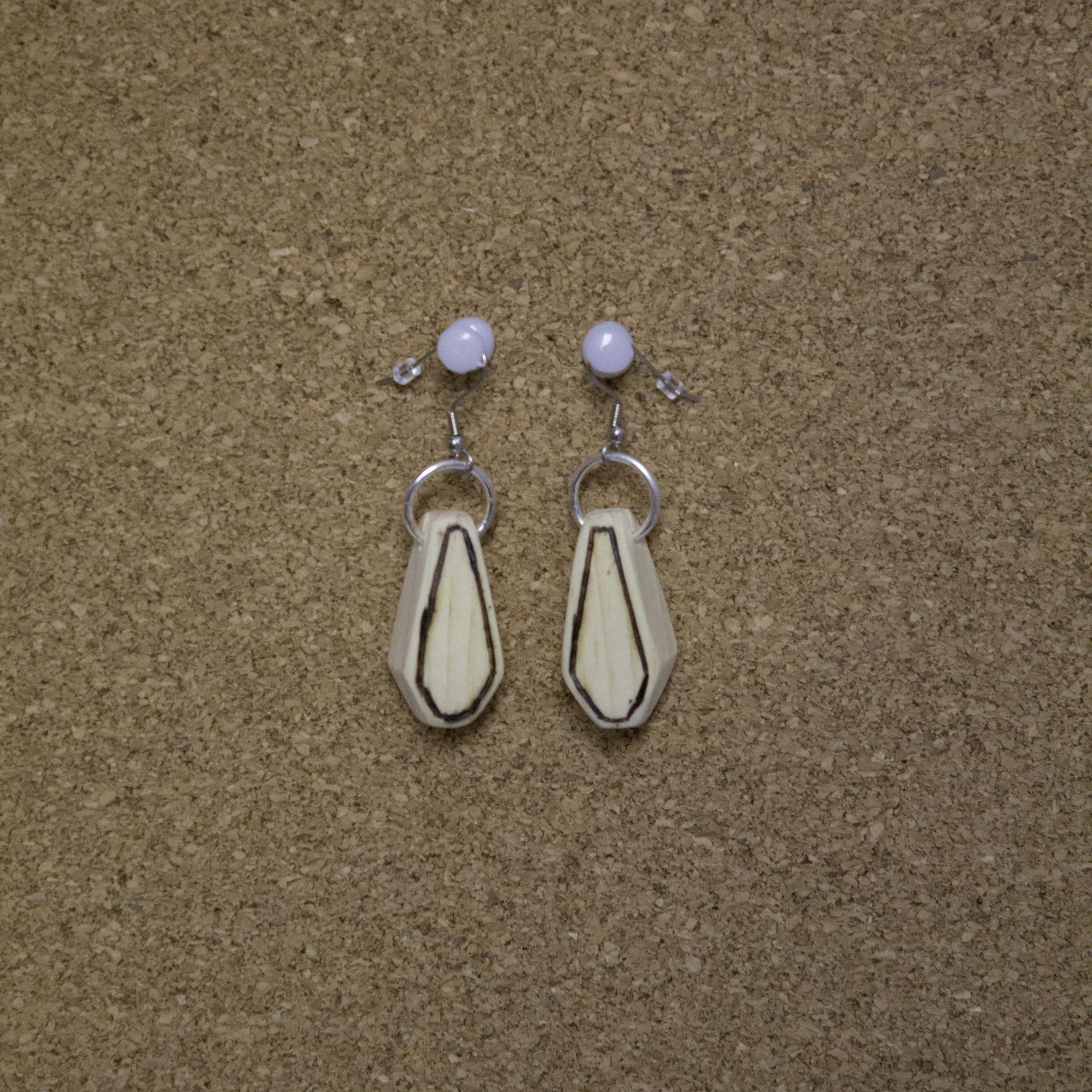 Wood Gem Earrings - $5