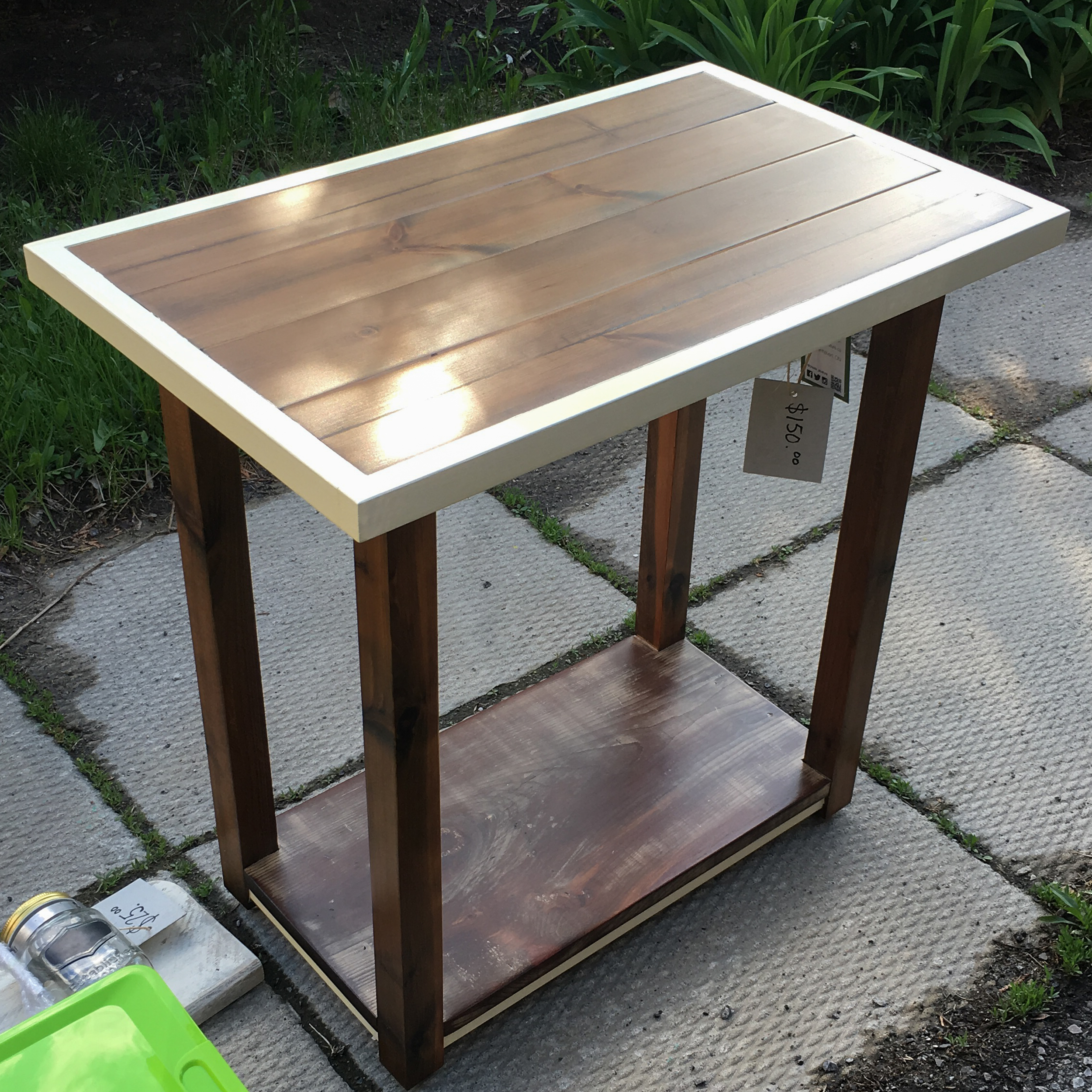4 wood end table - $150