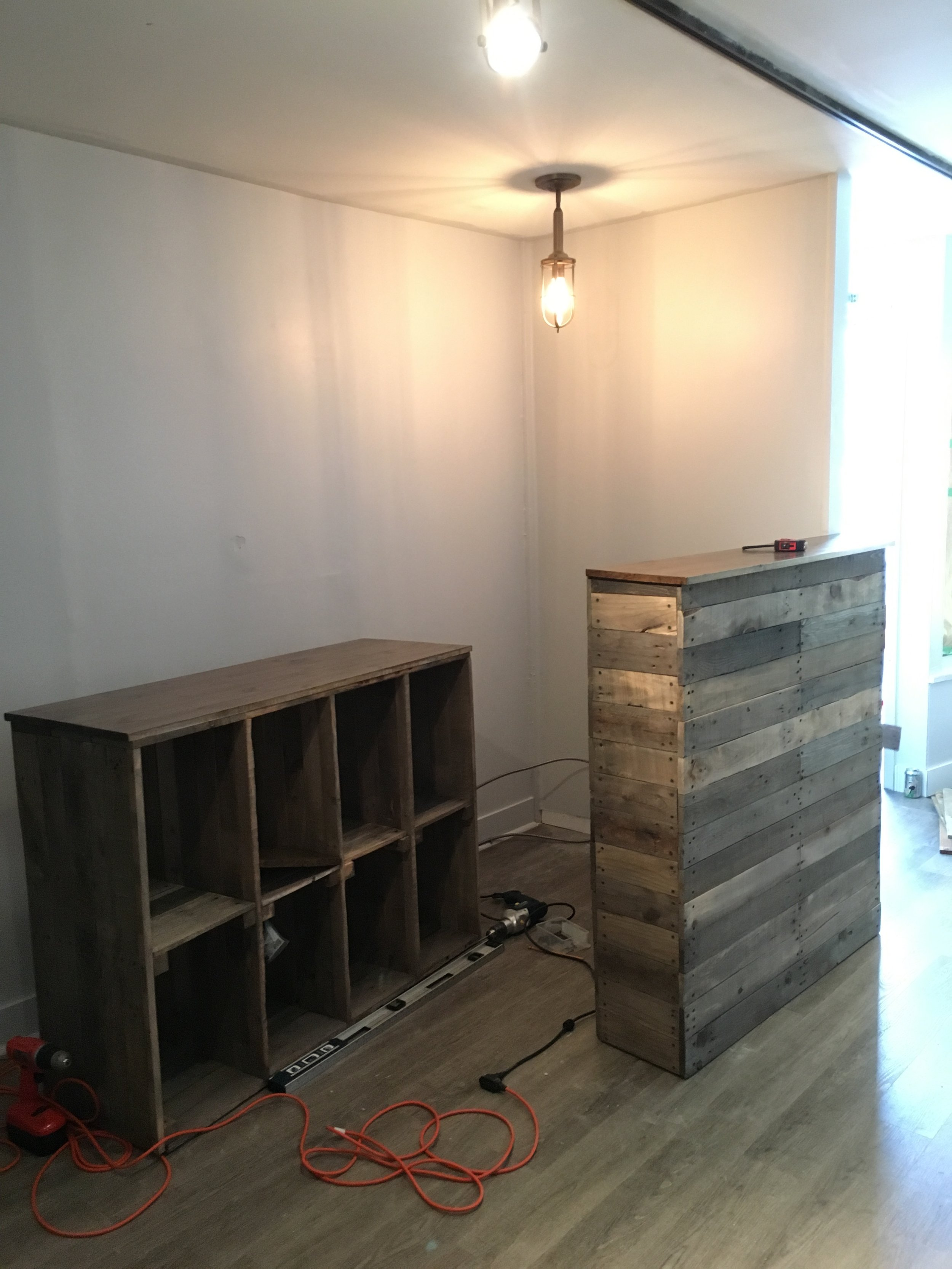 Completed Coffee Bar and Cubbies