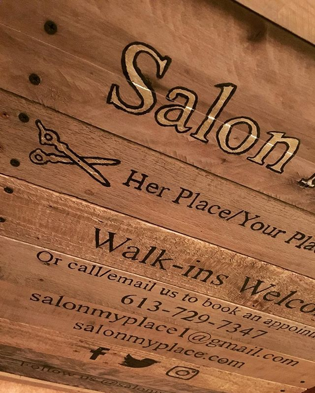 A-frame sidewalk sign. Hand painted. #abature #reclaimedwood #ottawa #local #reclaimed #salonmyplace