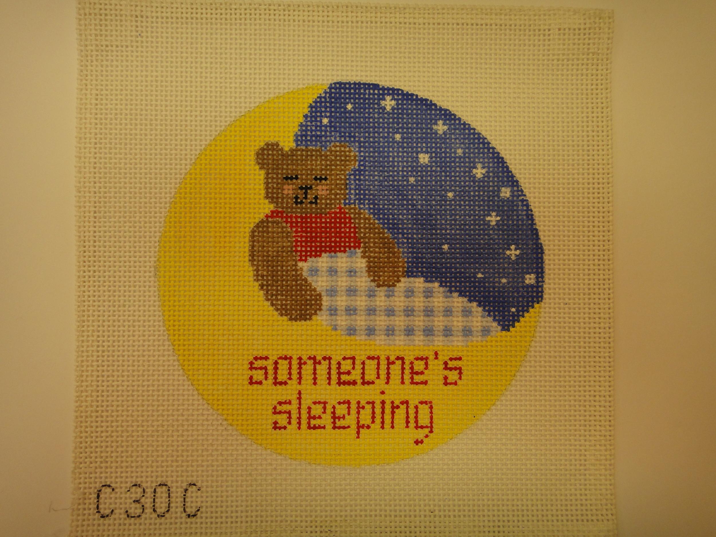 "S28B Baby Sleeping, Bear (6"" diameter)"
