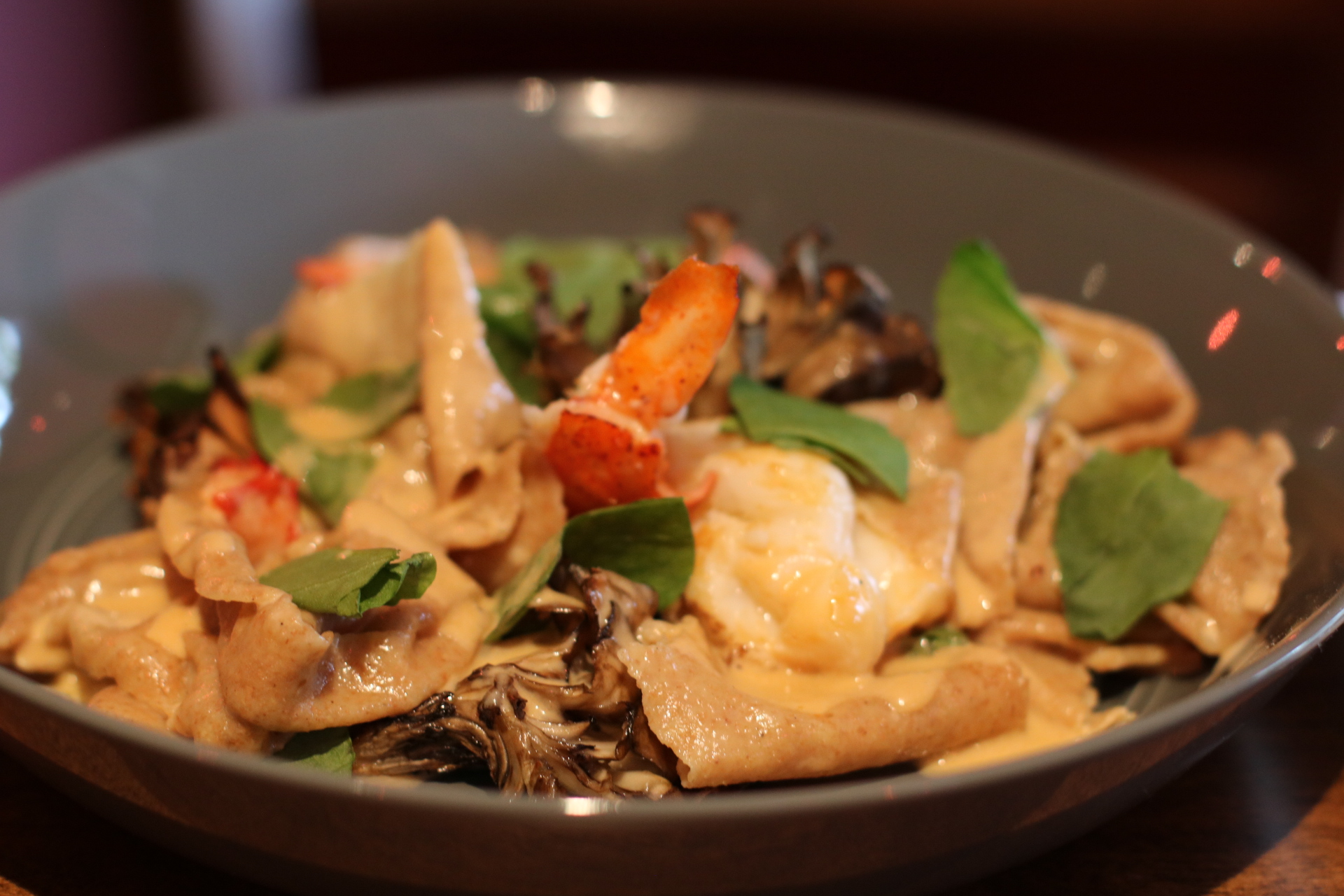 Lobster MP  Whole wheat hand torn pasta, maitake, sorrel