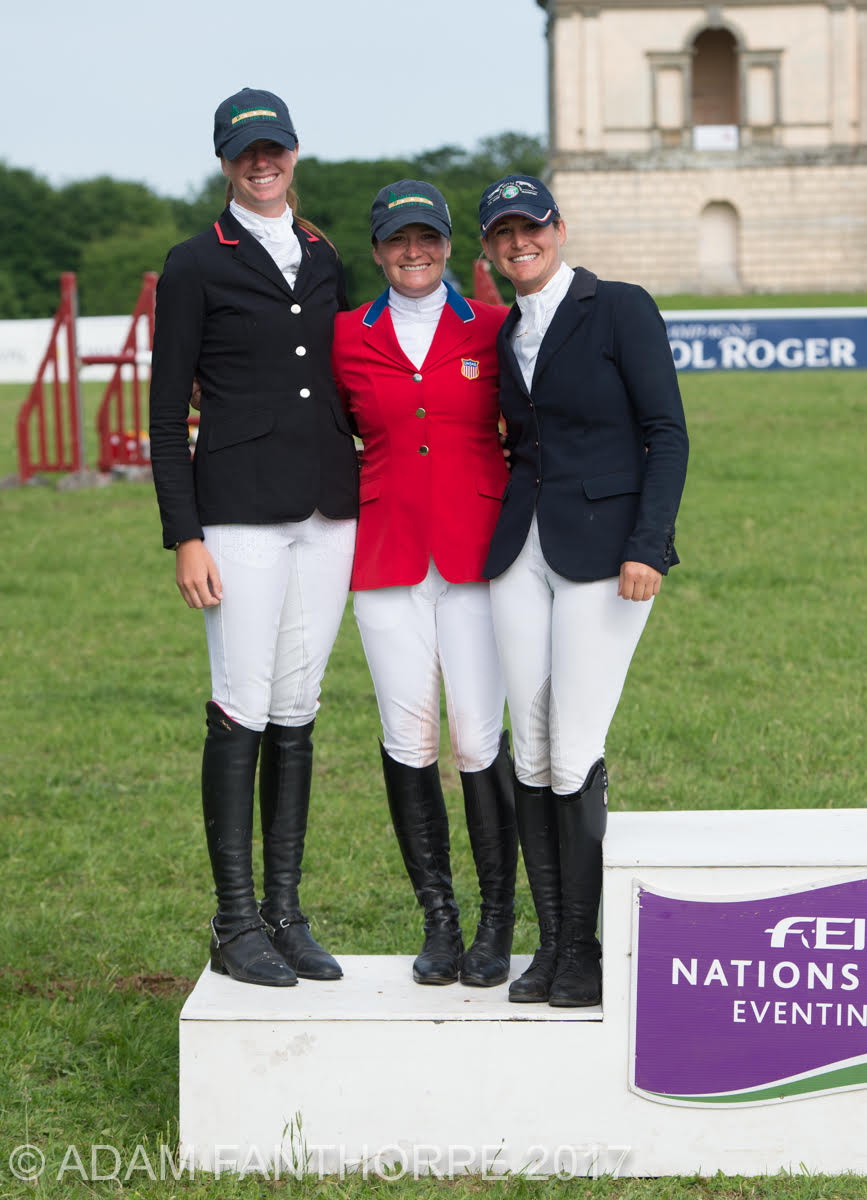 FEI Nations Cup™ podium at the Saracen Horse Feed Houghton International Horse Trials CICO3* - (l to r) U.S., Germany, and Great Britain. Photo Courtesy of Caroline Martin.