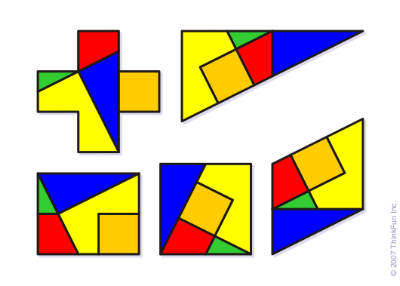 A tangram puzzle has a set of shapes that can be put together in different ways to form various shapes.
