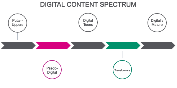 The digital content spectrum  ranges from putting stuff up on the web and blasting emails  to following modern design trends with org-centric IA and content to having a user-centered approach to digital communications to using structured content to publish across channels in a web publishing system to having a fully integrated digital marketing & communications and a headless CMS