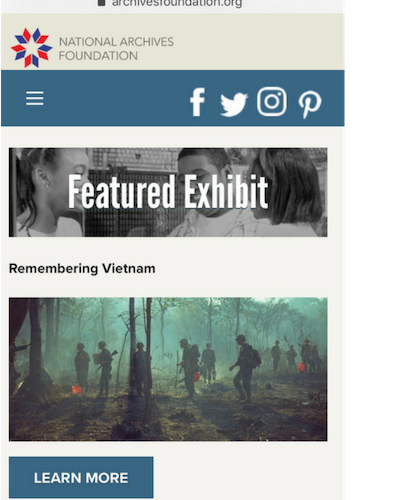 Several scrolls down the home page: Featured Exhibit: Remembering Vietnam with a photo and Learn More button