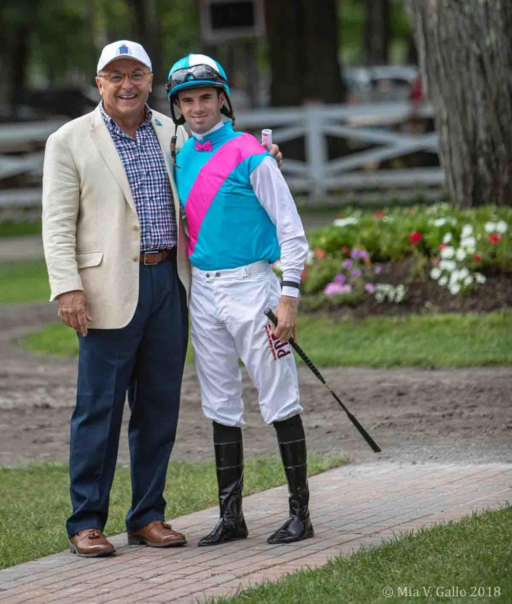Thomas Gallo (left) pictured with jockey, florent geroux, in the saratoga paddock.