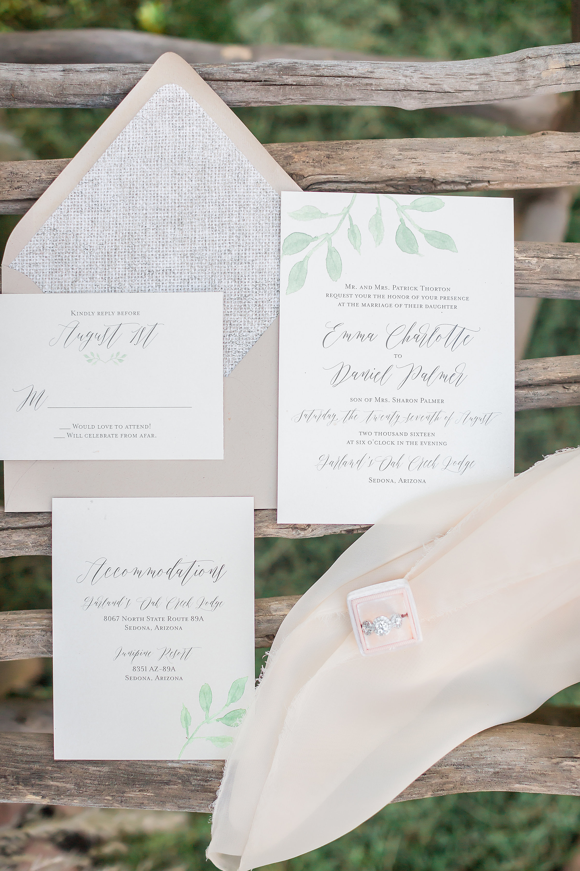 laurel wedding invitation