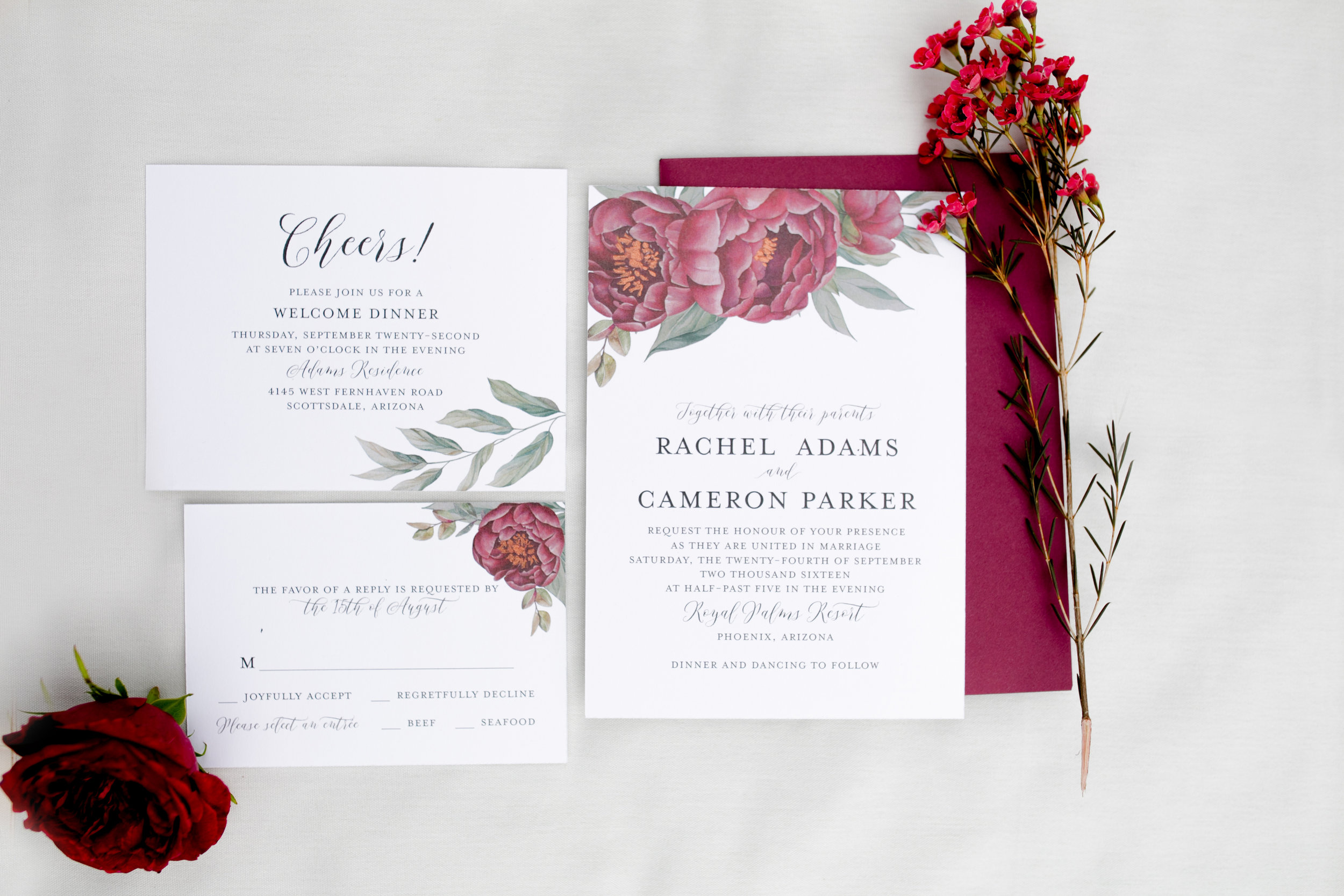 peony wedding invitation, floral wedding invitation