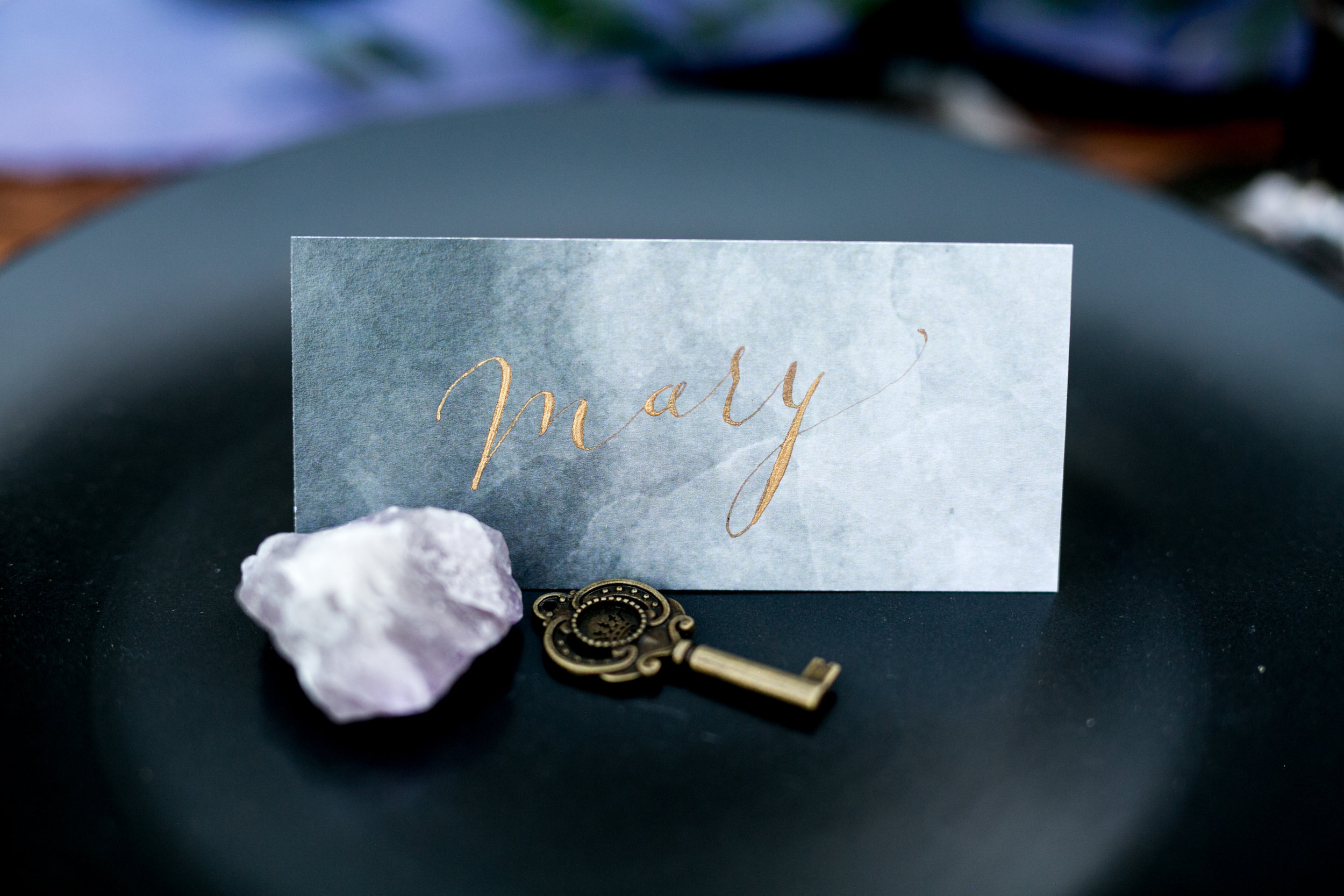 gold calligraphy place card