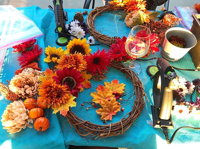 Our friends @yayrva frequently host events with us! This evening we partnered for a Fall Wreath Workshop. Check out yaymaker.com for special events featuring James River Cellars!  #jamesrivercellars #yaymaker #rva #fall #wreath