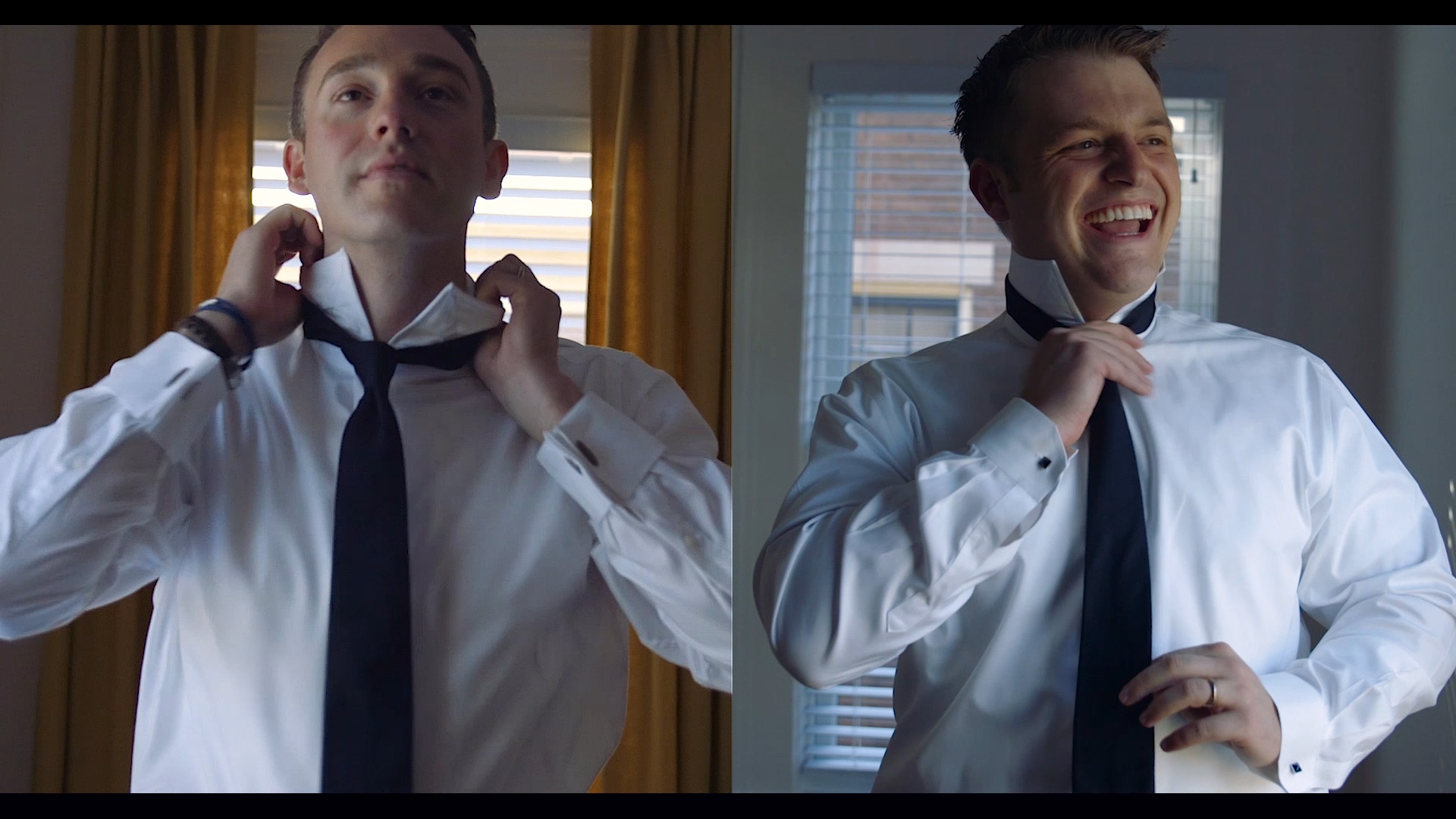 Logan & Clark prepare in their Lexington home. Same-Sex wedding film.