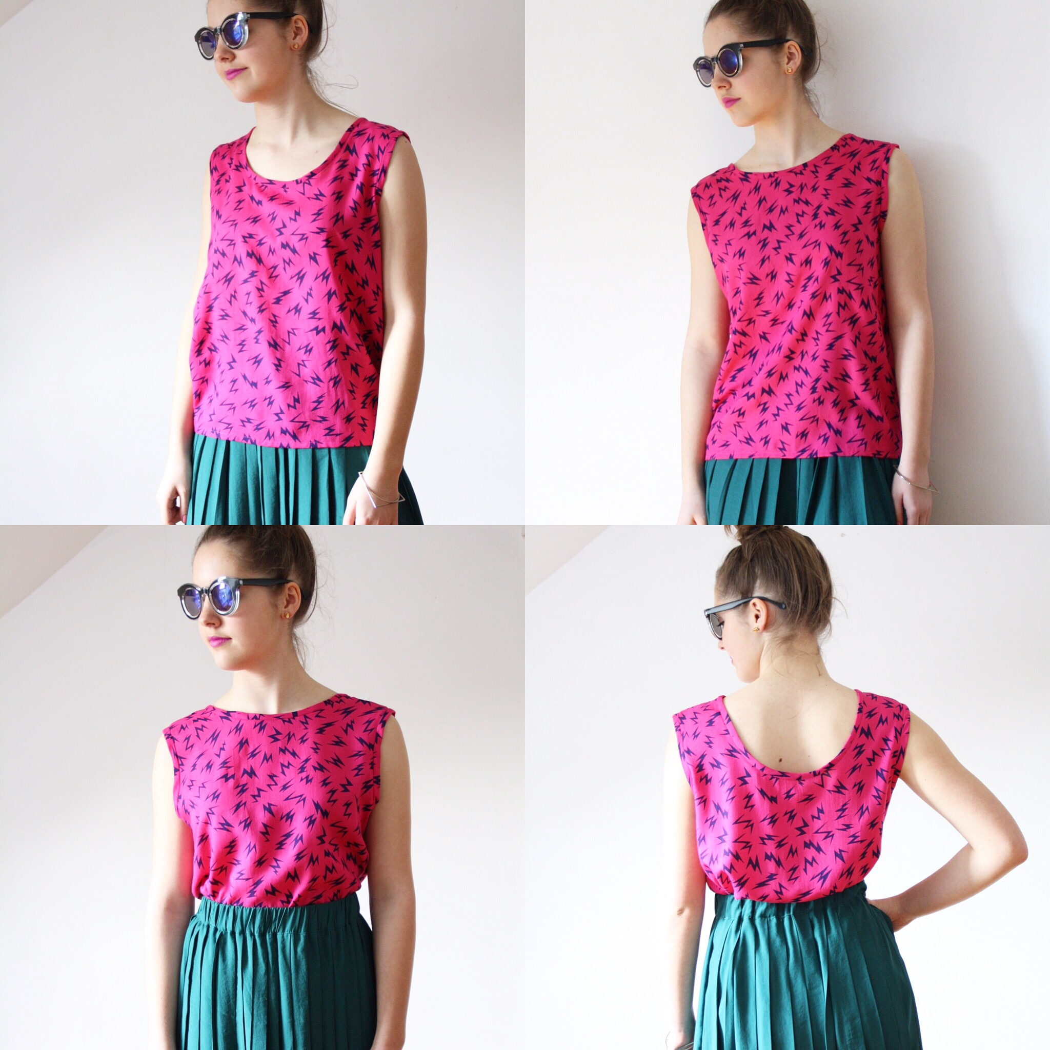 handmade sleeveless top summer top sun holiday pink