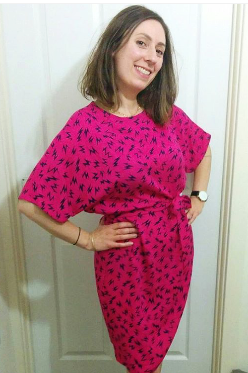 Josephine in her Hot Pink Ziggy Belted Frock