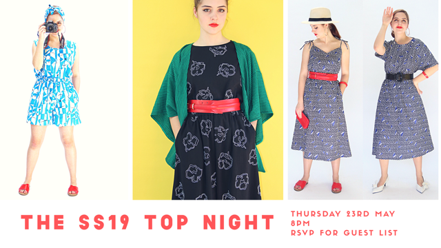 THE SS19 TOP NIGHT - Sign up below to be a Top Nighter and enjoy an evening of special discounts and clothes! Or choose a fabric and order a custom made piece: