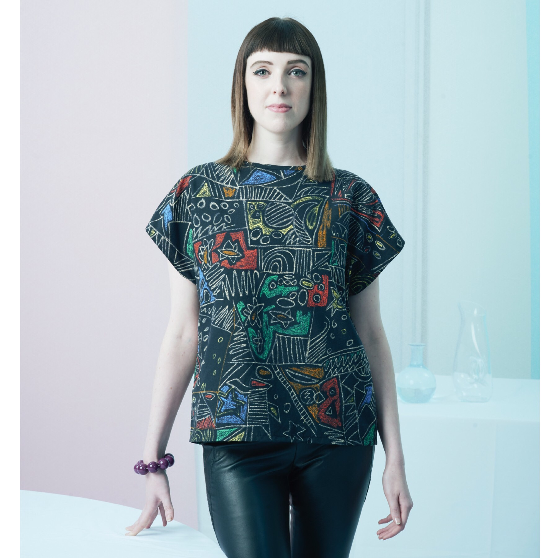 BAFTA breakthrough Brit Lucy Bevan in the Graffiti Neat Top with cap sleeves