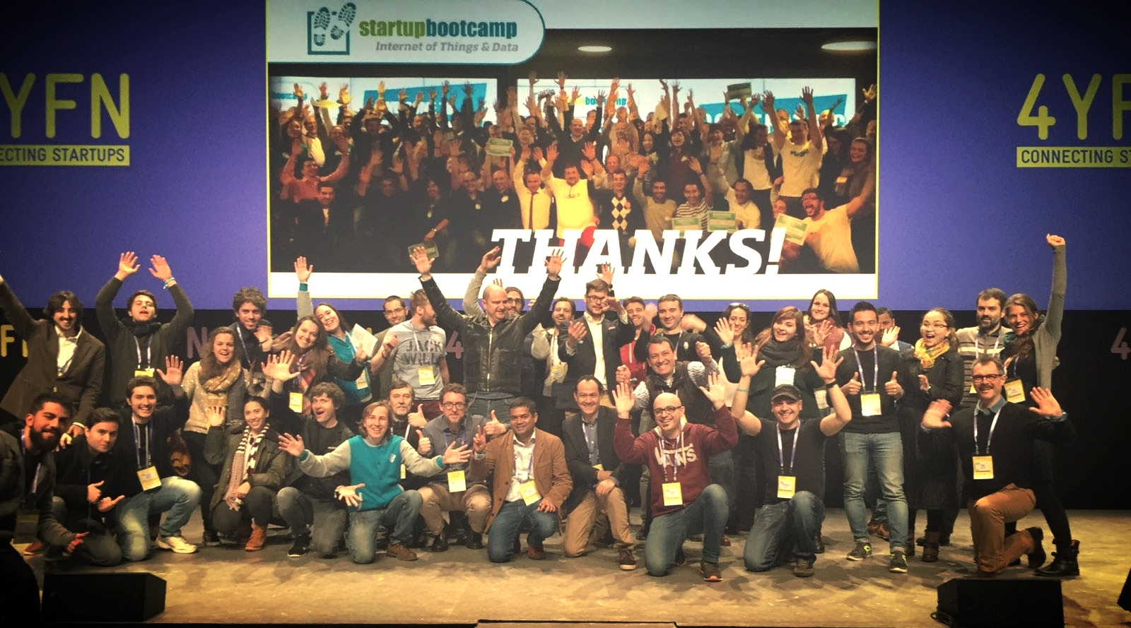 Celebrating the phenomenal pitches of the 11 startup companies participating in Demo Day at 4YFN - Mobile World Congress.