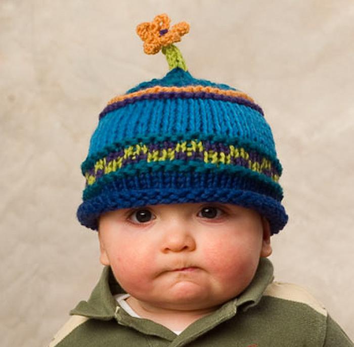 Flower power baby hat; wool