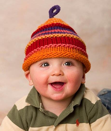 Striped hat; wool